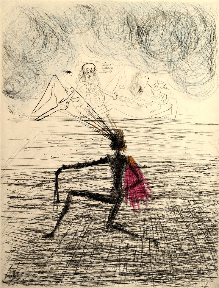 Salvador Dali - Faust, 1969-- I've never seen a Dali drawing, only his paintings. Pretty cool.