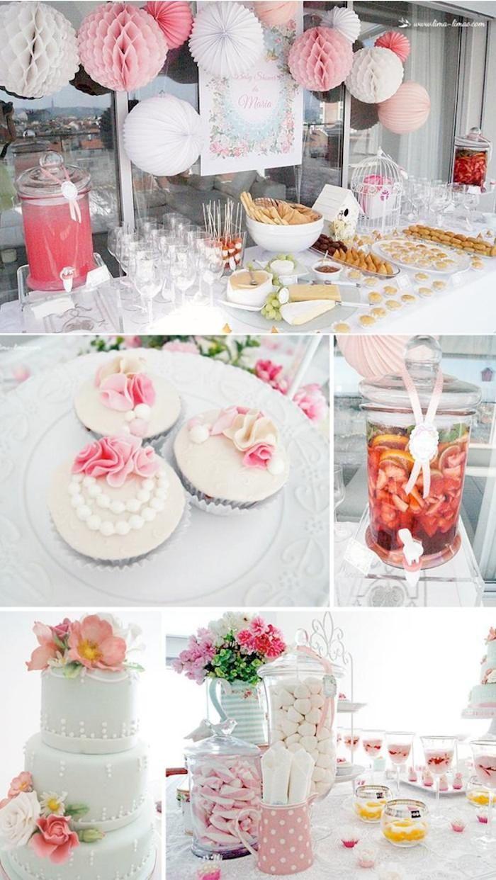 Sweet baby shower via Kara's PArty Ideas KarasPartyIDeas.com #vintagebabyshower #sweetbabyshower #floralbabyshower