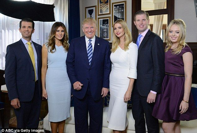 President Donald Trump (center) is seen last October with (left to right) Donald Jr, Melania Trump, Ivanka, Eric, and Tiffany. The Trump family's business enterprises and potential conflict of interests have attracted scrutiny in recent months
