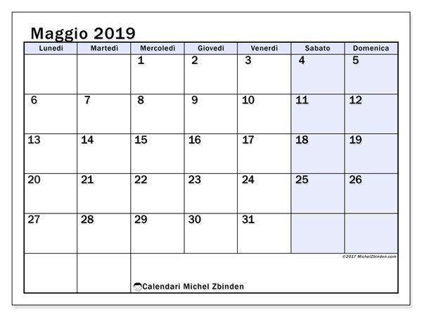 Calendario Stampabile.Calendario Maggio 2019 57ld Calendari Mensili
