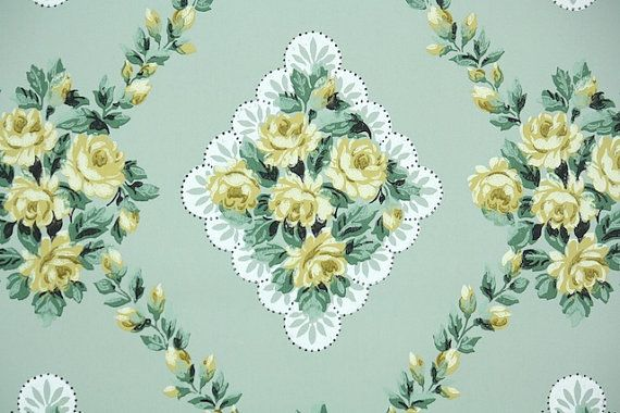 1940s Vintage Wallpaper By The Yard Floral Wallpaper
