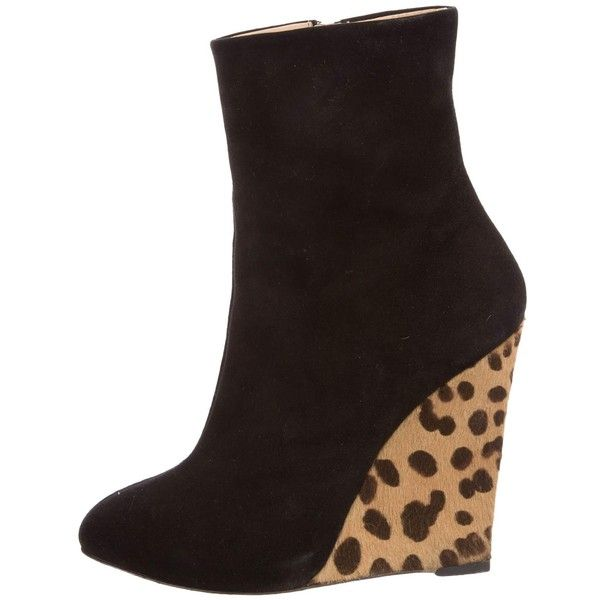 Pre-owned Giuseppe Zanotti Leopard Wedge Ankle Boots ($195) ❤ liked on Polyvore featuring shoes, boots, ankle booties, animal print, short black boots, leopard booties, ankle boots, black boots and black wedge ankle booties