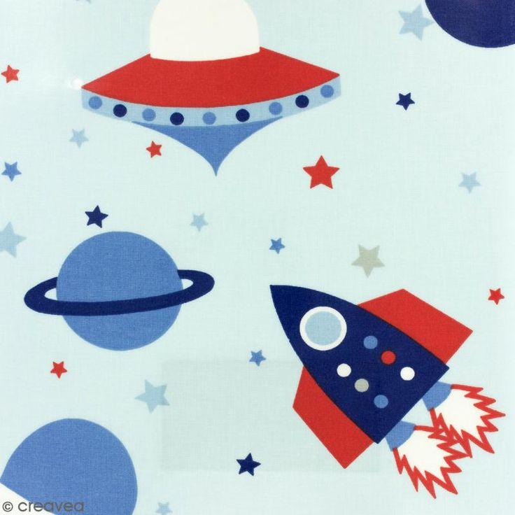 Tissu Fryett's Toile cirée - Fusées - Fond bleu ciel - Par 10 cm (sur mesure)