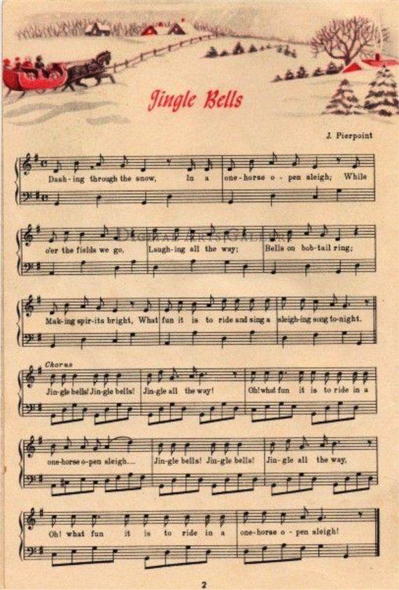 Jingle Bells Vintage Christmas Sheet Music Download Christmas Sheet Music Vintage Christmas Christmas Printables