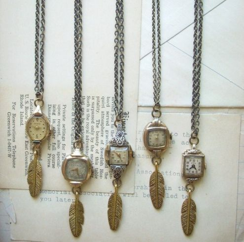 I'm going to do this with my mom's broken watches...finally a way to wear them!