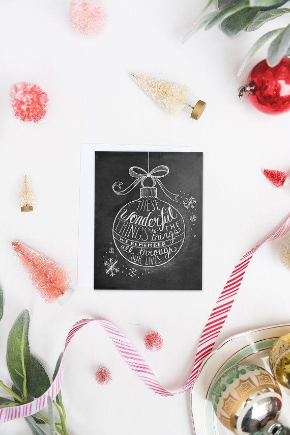 Kerstkaart wenskaart schoolbord Card-krijt kunst door LilyandVal