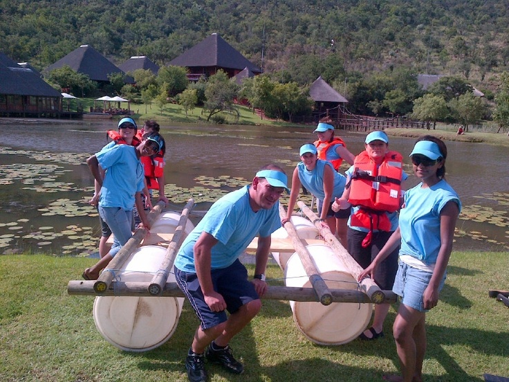 Raft building with our clients Upstream Advertising and Laser Adventures on our dam at Intundla. www.laseradventures.co.za for more Teambuilding activities.