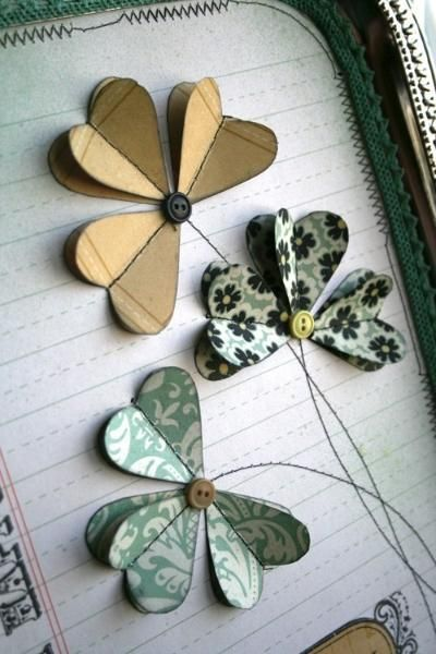card decoratig idea frin | Just Imagine ... heat flowers/shamrocks ... machine sewn centers and stems ... delightful vintage feel ...