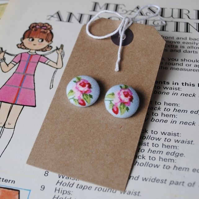 Earrings, Rose fabric buttons