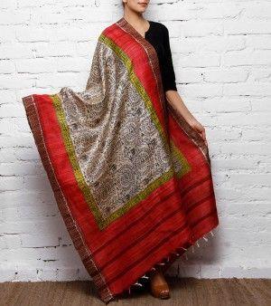 Beige, Black and Red Tussar Silk Dupatta