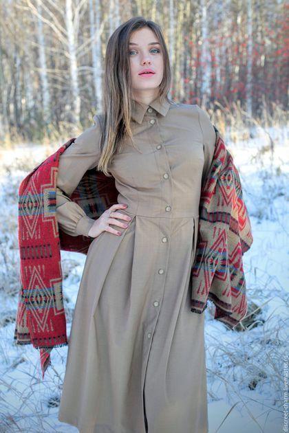 Платья ручной работы. Ярмарка Мастеров - ручная работа. Купить Бежевое шерстяное платье-рубашка с длинным рукавом. Handmade. Бежевый