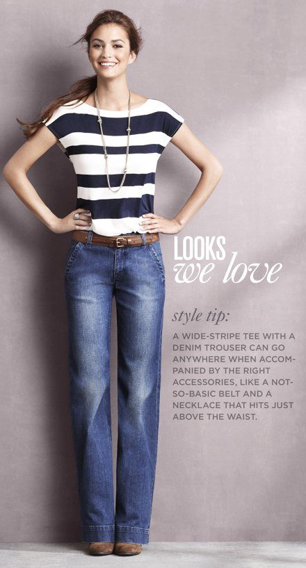 Wide-leg jeans, striped shirt, long necklace, belt...everything about this outfit is golden.