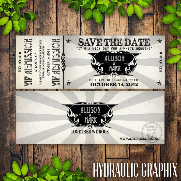 Printable Concert Ticket Wedding Save the Date with VIP Admission for Rock Music theme, Invitation for any event by HydraulicGraphix on Etsy https://www.etsy.com/listing/99825722/printable-concert-ticket-wedding-save