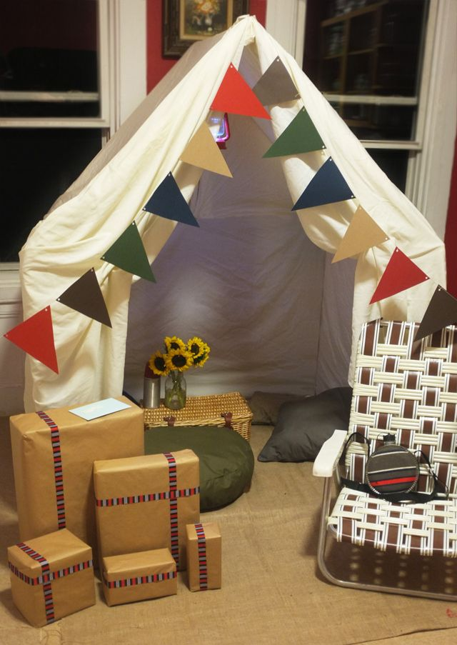 camper's birthday surprise. this PVC tent is an easy DIY!
