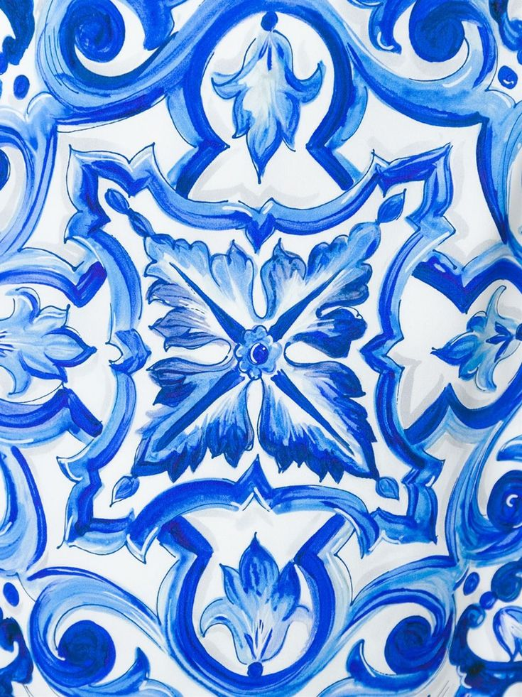 Dolce Amp Gabbana Majolica Tile Print Dress In Blue White