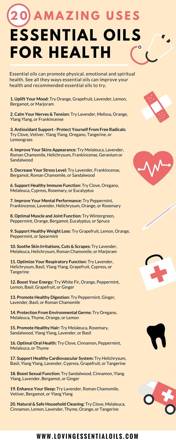 20 Amazing Ways to Use Essential Oils for Health Infographic | Essential Oil Uses & Tips | Naturally Boost Your Wellness | How To Use Oils For Healthy Living