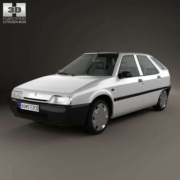 Citroen ZX 5-door hatchback 1991 3d model from humster3d.com. Price: $75