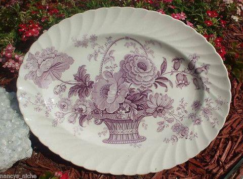 Lavender Purple Transferware Victorian Platter Basket of Roses Charlotte