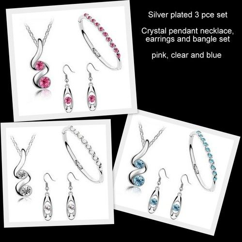 Silver Plated Crystal Jewellery Set - PRICE REDUCTION, AU$4.95