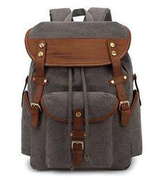 Herren Damen Vintage Rucksack Canvas Rucksack Retro Schulrucksack für Wandern/Schule/Laptop(Schwarz): Amazon.de: Sport & Freizeit