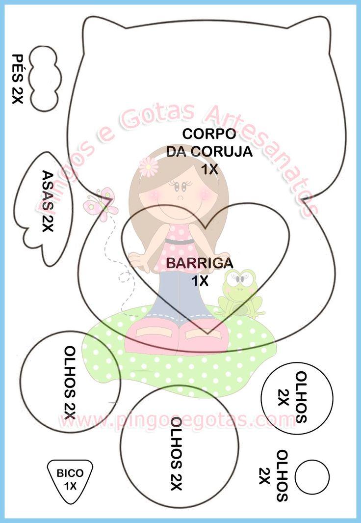 Molde grátis Capa de Caderno Coruja