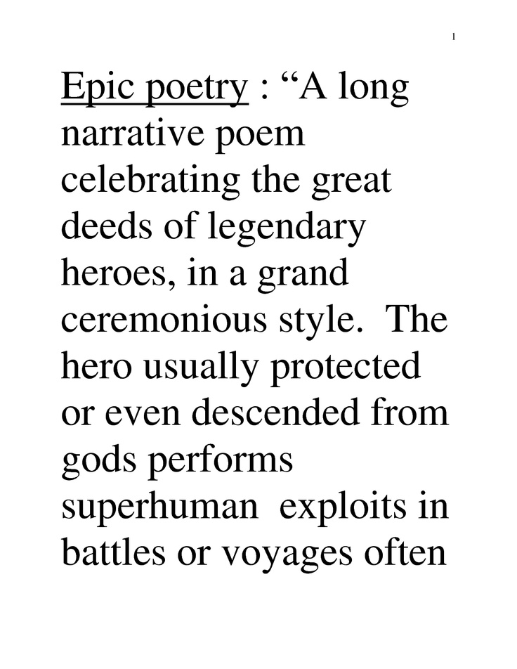 Epic poem definition and example - Google Search Poetry and Poetic