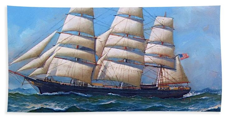 The Beach Towel featuring the painting The American Clipper Ship Gamecock Under Full Sail 1918 by Jacobsen Antonio