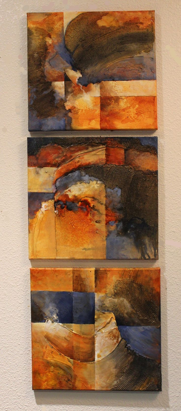 """""""Blue Invasion"""" textured abstract triptych by Carol Nelson"""