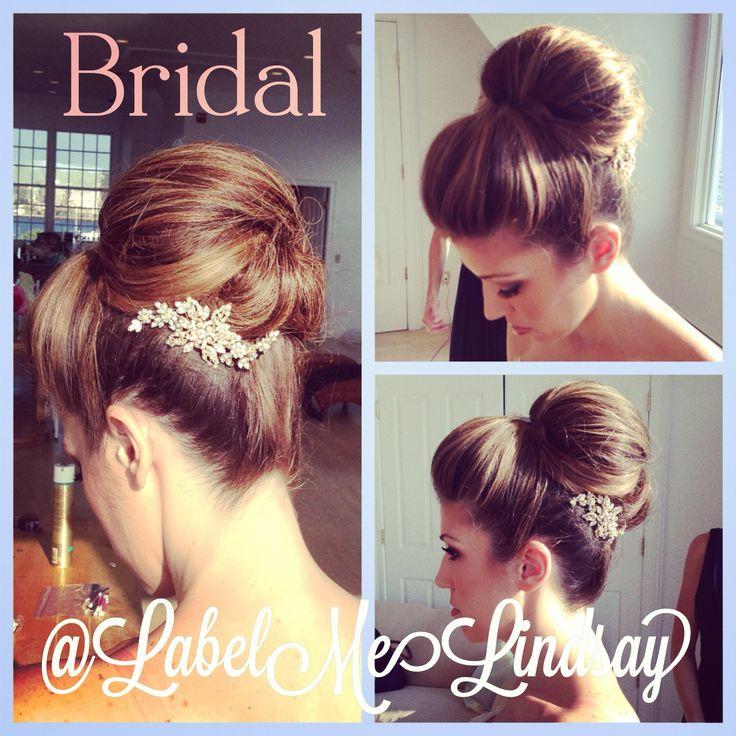 Brial bun bridal updo wedding hair classic hair bridesmaid hair bride bun labelmelindsay @Lindsay Fleischmann www.labelmelindsay.com big wedding hair