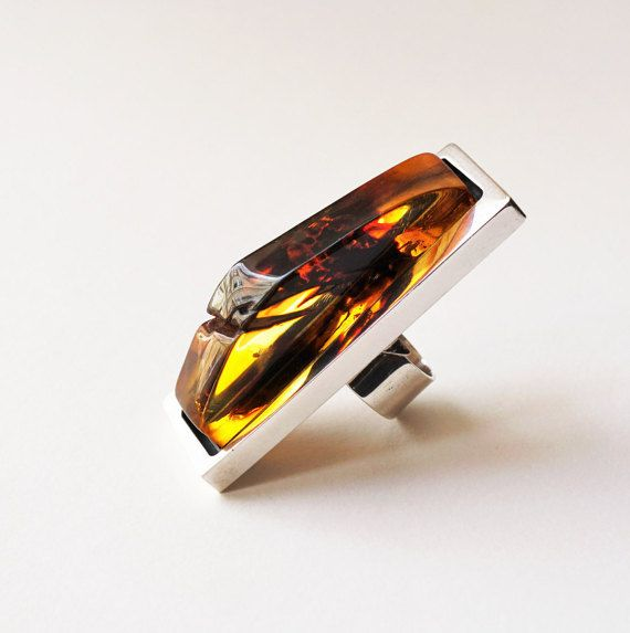 Luxury Baltic Amber Sterling Silver Ring by APPUSSTUDIOJEWELLERY