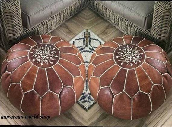Stuffed Footstool 100/% Leather Handmade Moroccan Pouf Ottoman