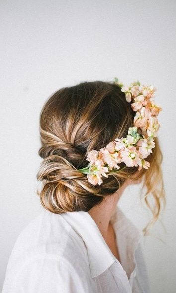 casual low bun with flowers