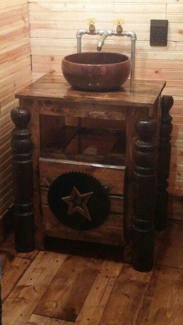 Rustic Bathroom With Repurposed Dresser Turned Vanity And