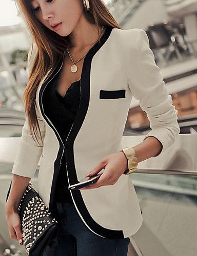 Women's Slim Blazer with Piping Detail - USD $ 23.99