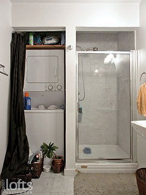 Stacked Washer And Dryer Next To Small Shower Small