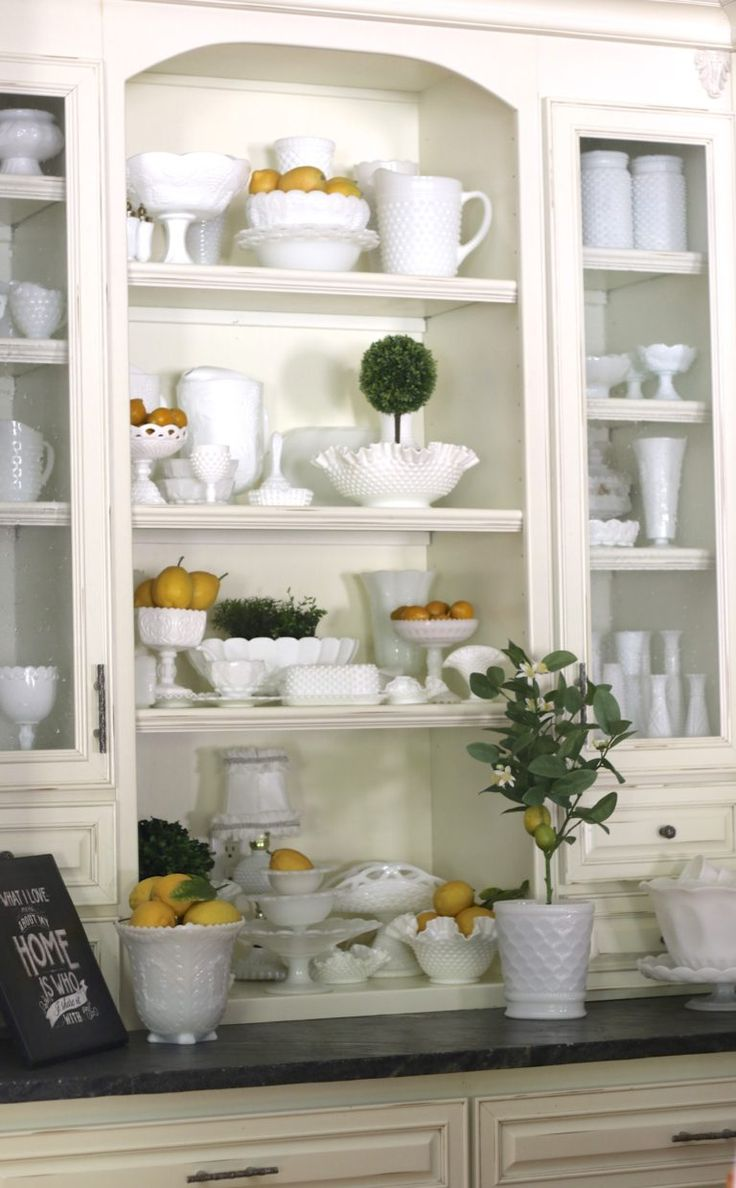 I picked some lemons from the backyard and added them to my Milk Glass display. These mini lemons are not real and I found them at Goodwill. I've never seen Arizona lemons that small even in the e…