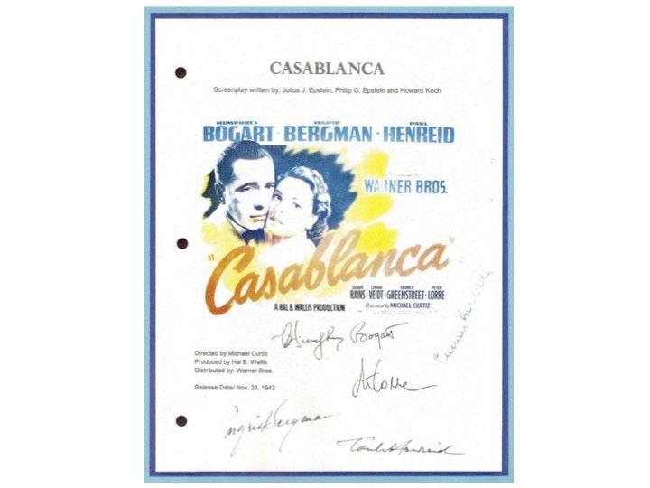 Casablanca Entire Movie Script Signed Screenplay Humphrey Bogart, Ingrid Bergman, Paul Henreid, Claude Rains, Peter Lorre