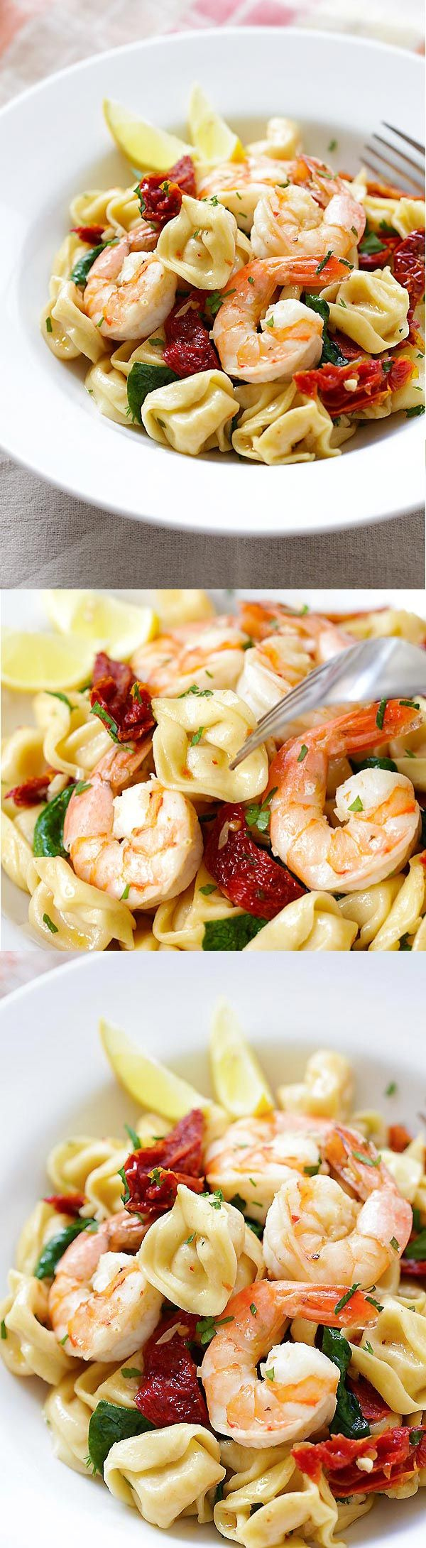 Amazing recipe for homemade Garlic Shrimp Tortellini. Budget-friendly and the taste is better than any Italian restaurant's! | rasamalaysia.com