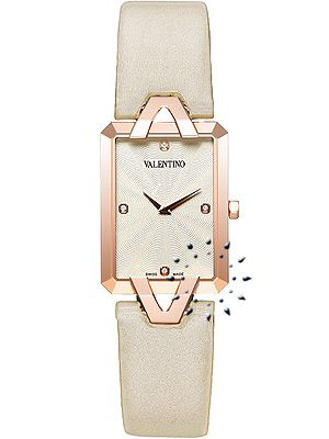 VALENTINO Gemme Beige Leather Strap Diamond Ladiesn 850 EUR