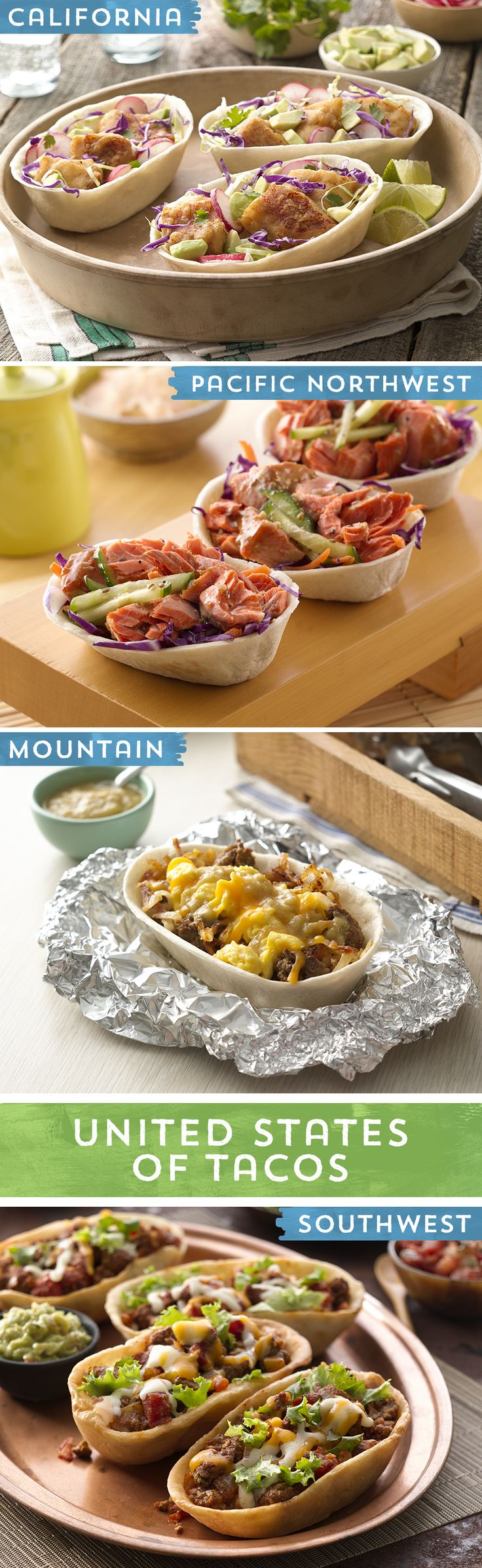 From California to the mountains of Colorado, from Arizona to the coast of the Pacific Northwest, the Western U.S. is full of unique flavors and cooking styles... all of which make for delicious tacos! These fun recipes will transport your taste buds all over the country, in the United States of Tacos! Try out your favorite Western flavor, or help us taco-fy a regional favorite of your own!