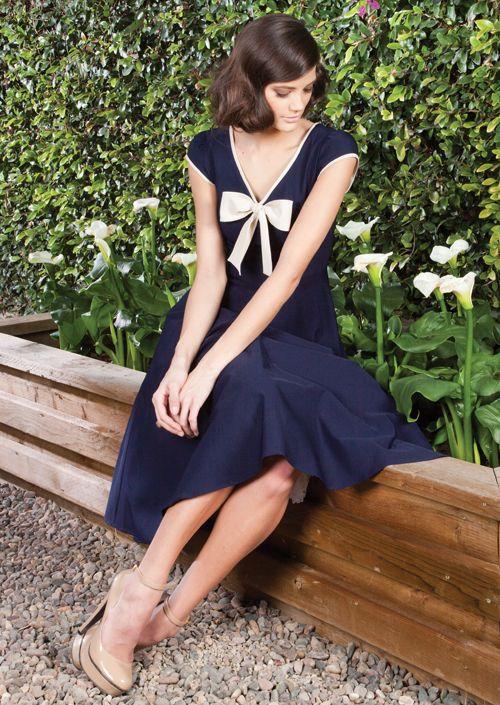 1940's style, Navy Blue Swing Dress