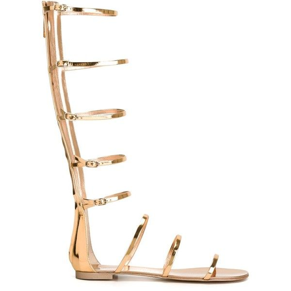 Giuseppe Zanotti Design gladiator strappy sandals (1,185,285 KRW) ❤ liked on Polyvore featuring shoes, sandals, metallic, strap sandals, flat shoes, metallic strappy sandals, strappy flats and leather sandals