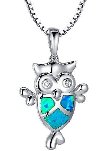 Arco Iris Schmuck Sterling Silber Eule mit Erstellt Blau und Grün Feuer Opal und Zirkonia Anhänger Halskette mit Italienisch Kette Box 45cm - Sc031n46 Arco Iris Schmuck http://www.amazon.de/dp/B00FIVL36G/ref=cm_sw_r_pi_dp_sslDvb04WRP5M