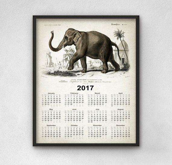 Indian Elephant Calendar 2017  Elephant Art by QuantumPrints