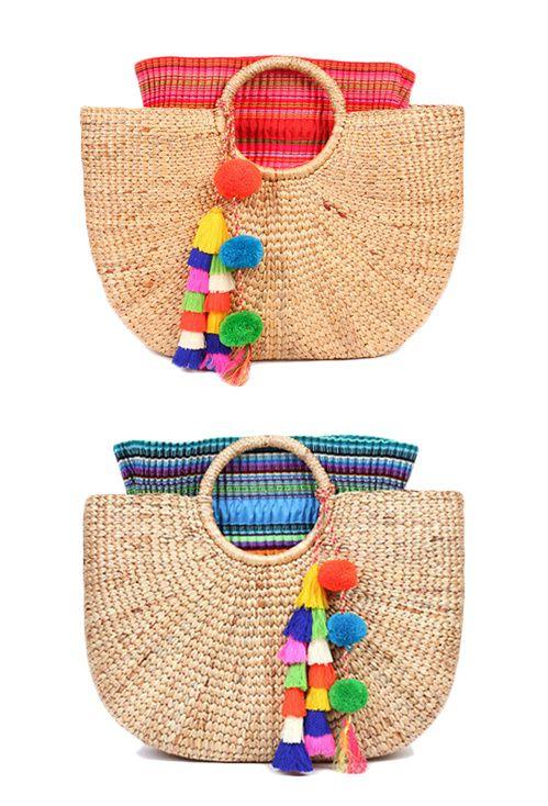 Panier en osier, pompons colorés, accessoires pour l'été, sac pour femme, bleu, rose