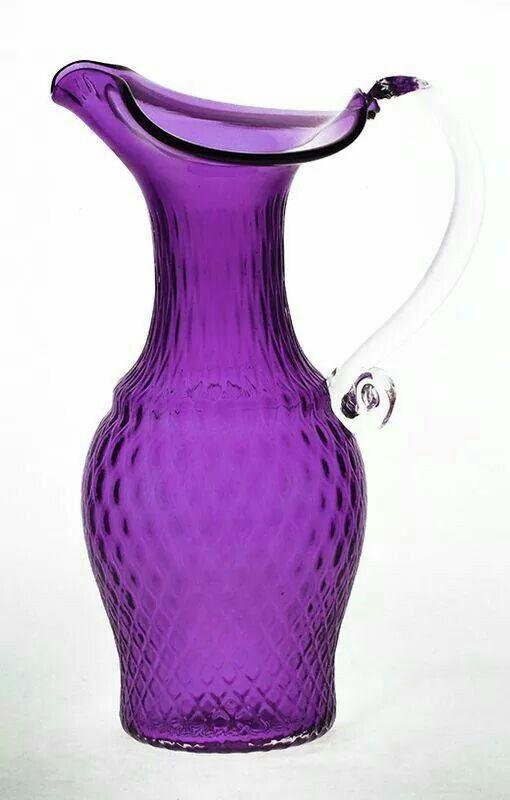 Amethyst Purple Glass Classic Diamond Jug