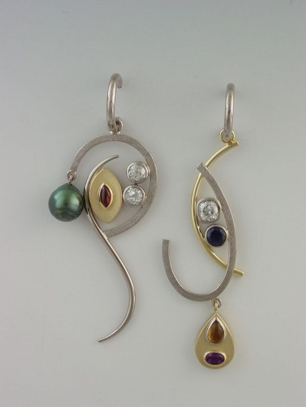 earrings - 18kt palladium white and 18kt yellow gold, Tahitian baroque pearl, diamond, garnet, sapphire, citrine, amethyst  by Janis Kerman Design by shauna