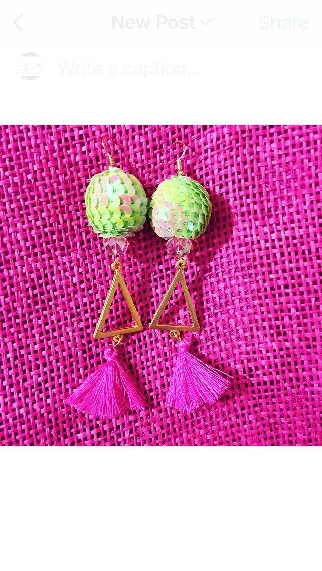 Green and Pink Triangle Tassel Earrings by BandBJewelsDesigns on Etsy https://www.etsy.com/listing/537329099/green-and-pink-triangle-tassel-earrings