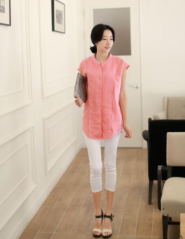 Republic of Korea reigning Women's Clothing Store [CANMART]  #koreafashionshop #fashion_pinter #pinterclothes #pintershop #Fashion_women #goodquality #goodfabric #korea #dailylook #dailyfashion #CANMART #OOTD #daily_blouse #basic_blouse #stylish_blouse #popolar_blouse #korea_blouse #fashionable_blouse #women_blouse #summer_blouse   linen, chiffon tank top shirt / Size : FREE / Price : 48.26 USD