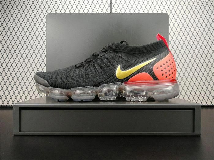 4e909365c3c Nike Air VaporMax 2.0 Flyknit 942842-005 Mens Running Shoes Black Red Golden